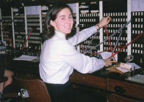 Gloria Velleley working on the international telephone exchange at the GPO Building.