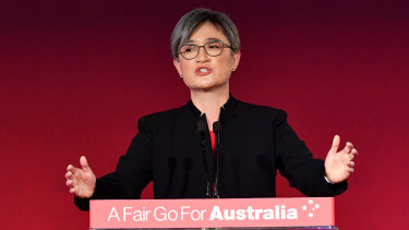 Senator Penny Wong speaking at the launch of Labor's federal election campaign.