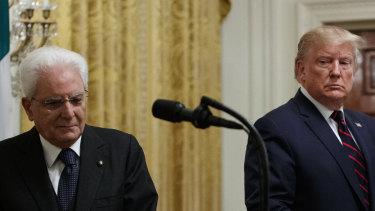 Donald Trump and Italian President Sergio Mattarella after their meeting on Wednesday.