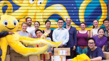 Derek Sheen (centre) and his team at Melbourne gift business Yellow Octopus.
