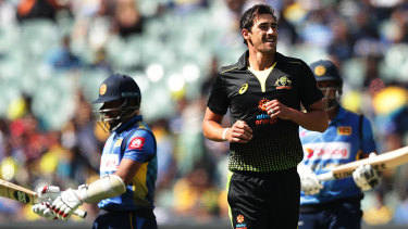 Quick breakthrough: Australian paceman Mitchell Starc is all smiles after taking the wicket of Sri Lanka's Kusal Mendis.