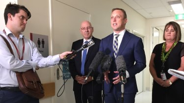 Health Minister Steven Miles at Princess Alexandra Hospital after the Auditor-General's report into digital hospitals was released.