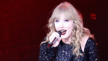Taylor Swift performs during her Reputation world tour at the Gabba in Brisbane.