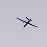 A Turkish drone pictured flying between Tal Tamr and Ras al-Ain.