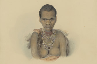 Truganini as painted by the convict artist Thomas Bock in 1836.