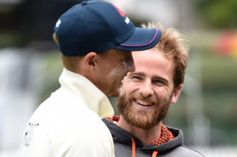 England captain Joe Root and Black Caps skipper Kane Williamson chat after the match was called off.