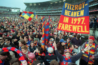 Fitzroy fans after the club's final match in Melbourne.