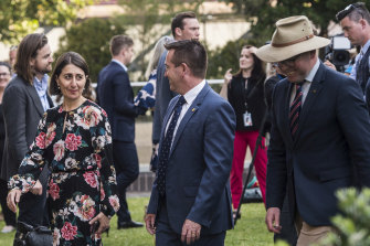 NSW Premier Gladys Berejiklian with then  acting deputy premier Paul Toole and Agriculture Minister Adam Marshall during a meeting while John Barilaro was on sick leave in October.