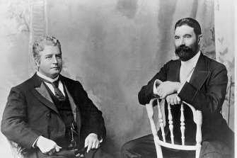 Edmund Barton (left) and Alfred Deakin, two fathers of the federation and the first two prime ministers of Australia.