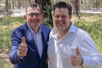 Will Fowles with Premier Daniel Andrews in Wattle Park last year.
