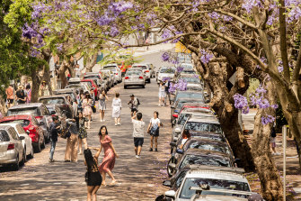 Tourists crowding McDougall Street in Kirribilli.