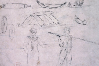 Sydney Parkinson's pencil sketch of an Aboriginal warrior.