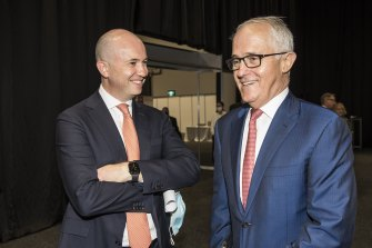 NSW Energy & Environment Minister Matt Kean with former prime minister Malcolm Turnbull at the Smart Energy conference on Wednesday.