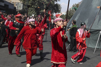Actors in Iran re-enact the battle of Karbala to observe Ashoura.