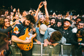 Foals performing at Splendour in the Grass on Friday.