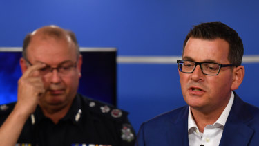 Chief Commissioner Graham Ashton and the Victorian premier Daniel Andrews, Bourke st media conference on  the night of the attack, Friday 9th November.
