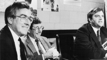 Paul Dibb, Sir William Cole, and Kim Beazley at the Dibb report press conference, Parliament House, Canberra, June 3, 1986.