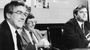 Paul Dibb (left), Sir William Cole and then defence minister Kim Beazley at the release of the Dibb report in 1986.