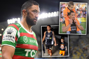 Benji Marshall with then five-year-old Lleyton Giles during the 2010 season.