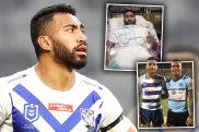 Tuipulotu Katoa, brother of Sharks star Sione (inset), went to hospital with a staph infection, but tests revealed he also had a serious heart problem and a brain aneurysm.