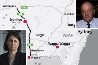 Gladys Berejiklian met with her then lover Daryl Maguire to discuss a highway that was over 100 kilometres from the Wagga Wagga MP's electorate but within metres of his newly bought investment property at Ivanhoe.