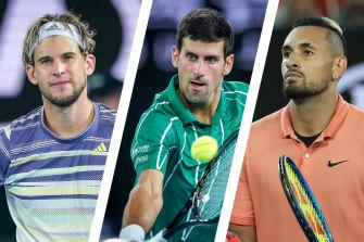 Dominic Thiem, Novak Djokovic, Nick Kyrgios.