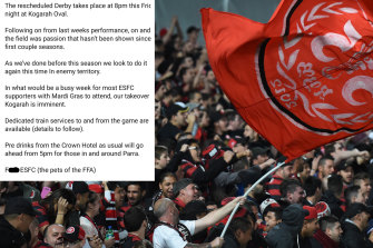 A since-deleted post by the RBB, fan group of the Western Sydney Wanderers.