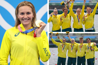 Ariarne Titmus, Australia's women's four and men's four rowing gold medals on July 28, 2021.