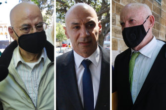 Eddie Obeid, Moses Obeid and Ian Macdonald on October 21 before they were sentenced.