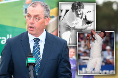 New Australian selector Tony Dodemaide as CEO of Cricket Victoria and in his prime as a pace bowler.
