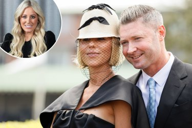 Composite - SYDNEY, AUSTRALIA - OCTOBER 17: Pip Edwards and Michael Clarke attend Everest Race Day at Royal Randwick Racecourse on October 17, 2020 in Sydney, Australia. (Photo by Hanna Lassen/Getty Images for Australian Turf Club)