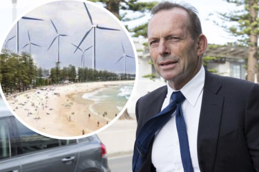 """Former prime minister Tony Abbott has labelled wind farms """"the dark Satanic Mills of our time"""" while dismissing a tongue-in-cheek campaign to install the turbines in his old Sydney electorate of Warringah."""