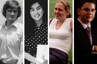 HSC high achievers through the decades: Geoff Wilkes (1979), Vivien Chen (1989), Kate Peterson (1999) and Patrick Hamid (2009).