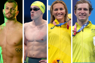 Kyle Chalmers, Zac Stubblety-Cook, Ariarne Titmus and Jack McLoughlin.