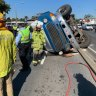Road re-opened outside Brisbane hospital after truck rollover