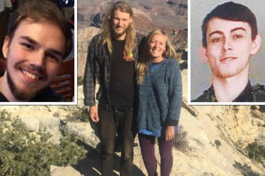 From top left: Missing man Kam McLeod, Australian Lucas Fowler with girlfriend Chynna Deese and missing man Bryer Schmegelsky.