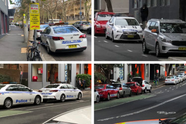 Police cars have been occupying loading zones in Surry Hills, as well as other civilian spots.