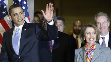 Former US president Barack Obama alongside veteran Democrat and strong legislator Nancy Pelosi.