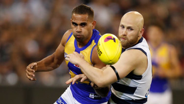 Lewis Jetta and Gary Ablett compete in last Friday night's semi-final.