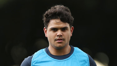 Latrell Mitchell at Sydney Roosters training.