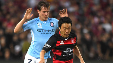 Blacktown bound: Melbourne City winger Nick Fitzgerald (left) is set to be unveiled as a new Wanderer.