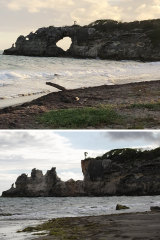 """Punta Ventana"" or Window Point in Guayanilla, Puerto Rico, before and after a Monday tremor knocked down the rock formation."
