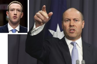 The Facebook news blackout came after Josh Frydenberg and Mark Zuckerberg, inset, failed to resolve differences over the new media code.
