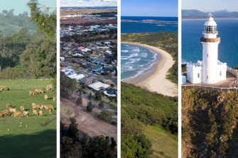 Cows at Kameruka Estate, Bega Valley; an aerial view of houses above Dubbo golf course; Korora Bay in Coffs Harbour; and Byron Bay lighthouse.