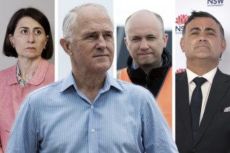 NSW Premier Gladys Berejiklian, former prime minster Malcolm Turnbull, NSW Environment Minister Matt Kean and Deputy Premier John Barilaro.