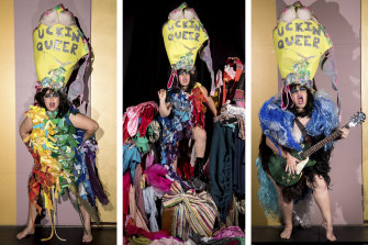 Sarah Ward's rainbow attire is made entirely from recycled materials.