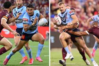 Latrell Mitchell and Tom Trbojevic razzle-dazzled with their athleticism in setting up the record win over the Maroons.