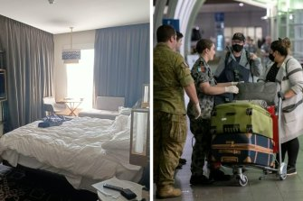 A hotel room where overseas travellers are quarantined, left, and defence personnel meet people arriving in Australia from overseas.