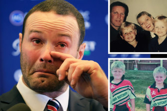 Boyd Cordner does it tough at his retirement announcement. Inset, with mum Lanai, dad Chris and brother Dane; and the boys in their junior footy days.
