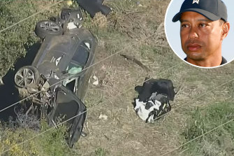 Tiger Woods and the scene of his roll-over car crash in Los Angeles.